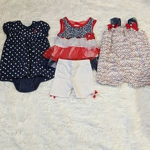 Lot of 3 Baby Girl Patriotic Outfits